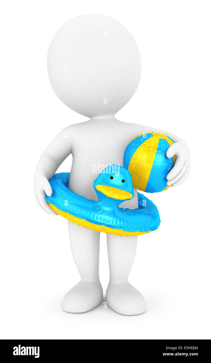3d white people with a swim ring and a ball, isolated white background, 3d image Stock Photo