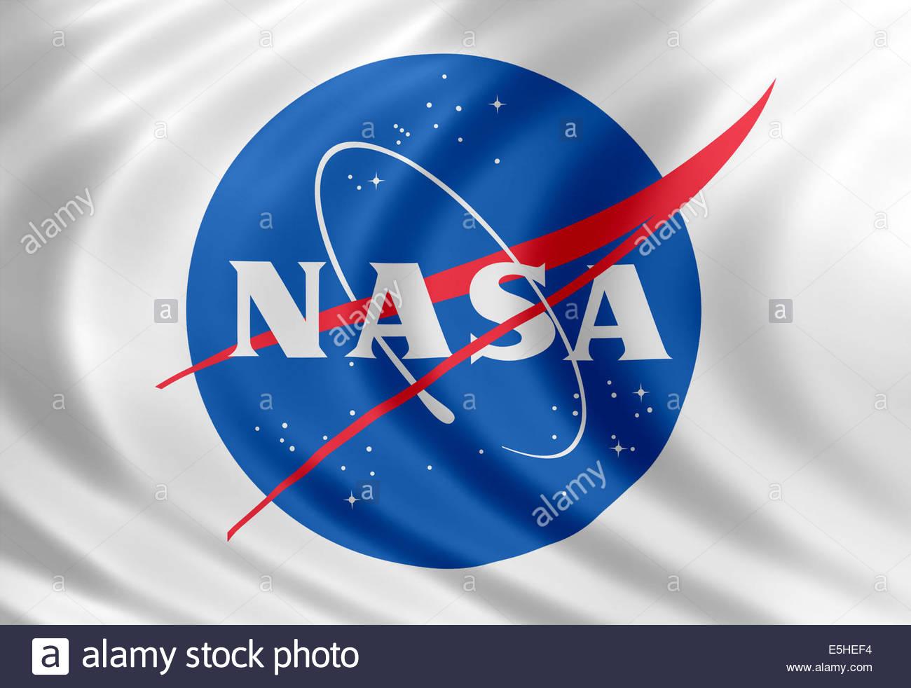 NASA icon logo with flag of silk - Stock Image