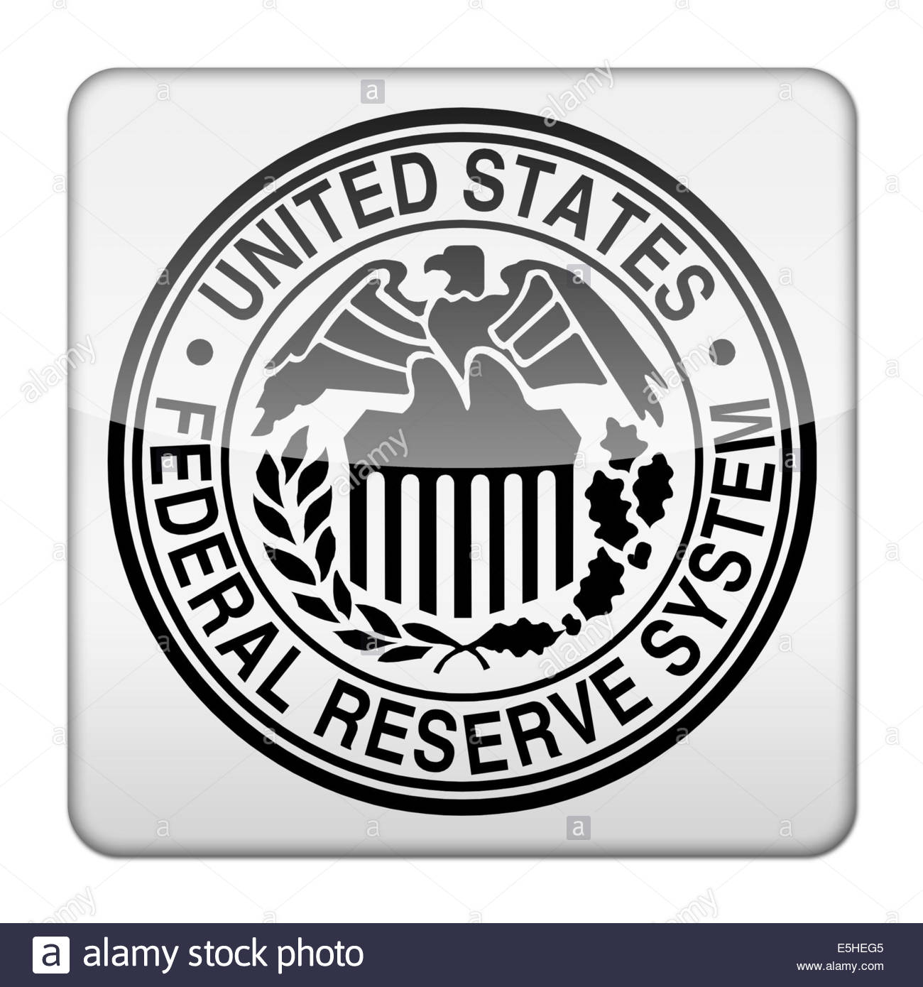 Federal Reserve System Icon Logo Isolated App Button Stock Photo