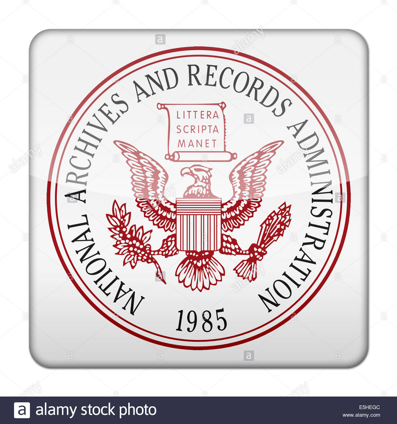 National Archives and Records Administration icon logo isolated app button - Stock Image