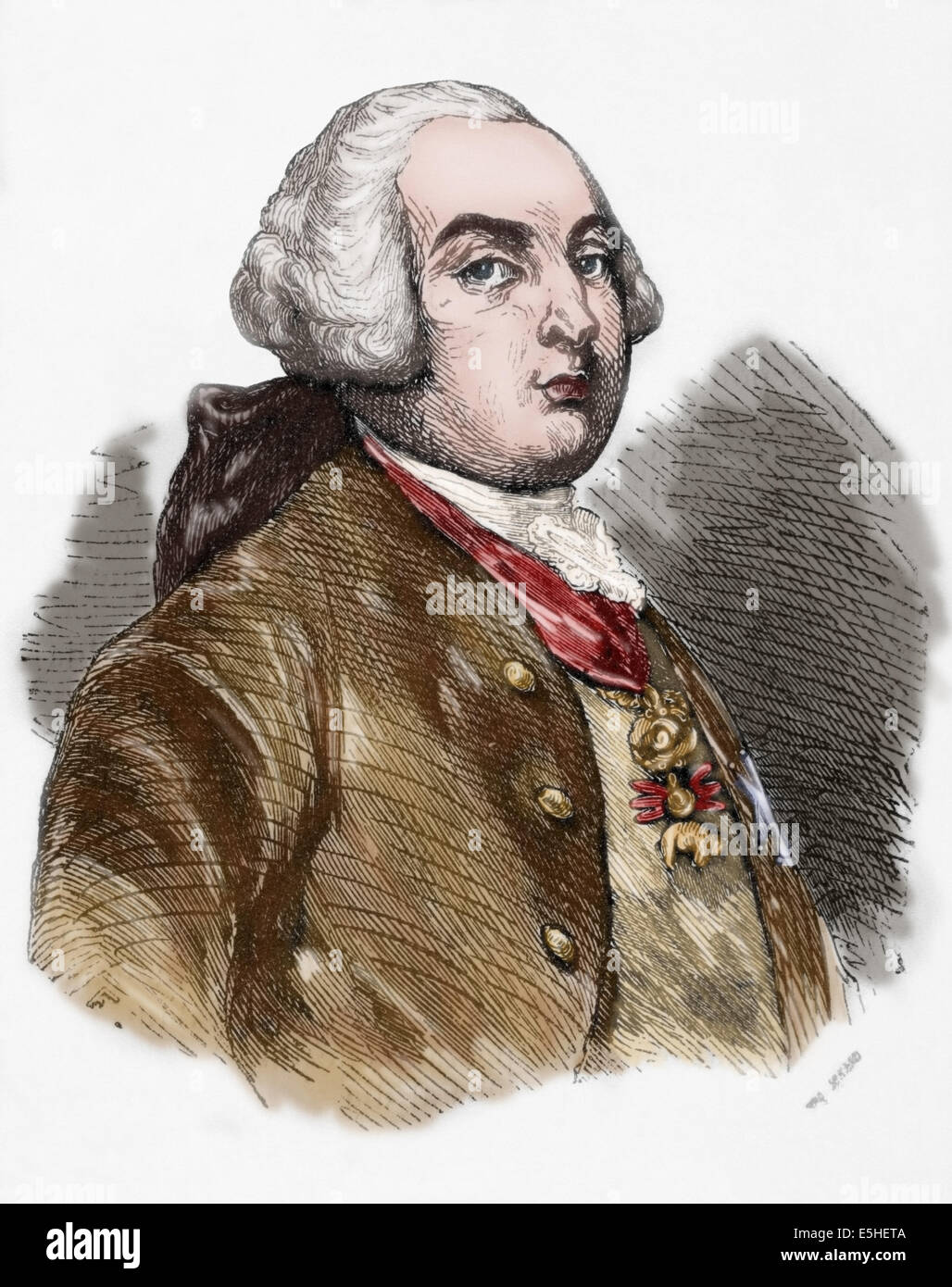 Louis XVI (1754-1793). King of France. Engraving. Colored. - Stock Image