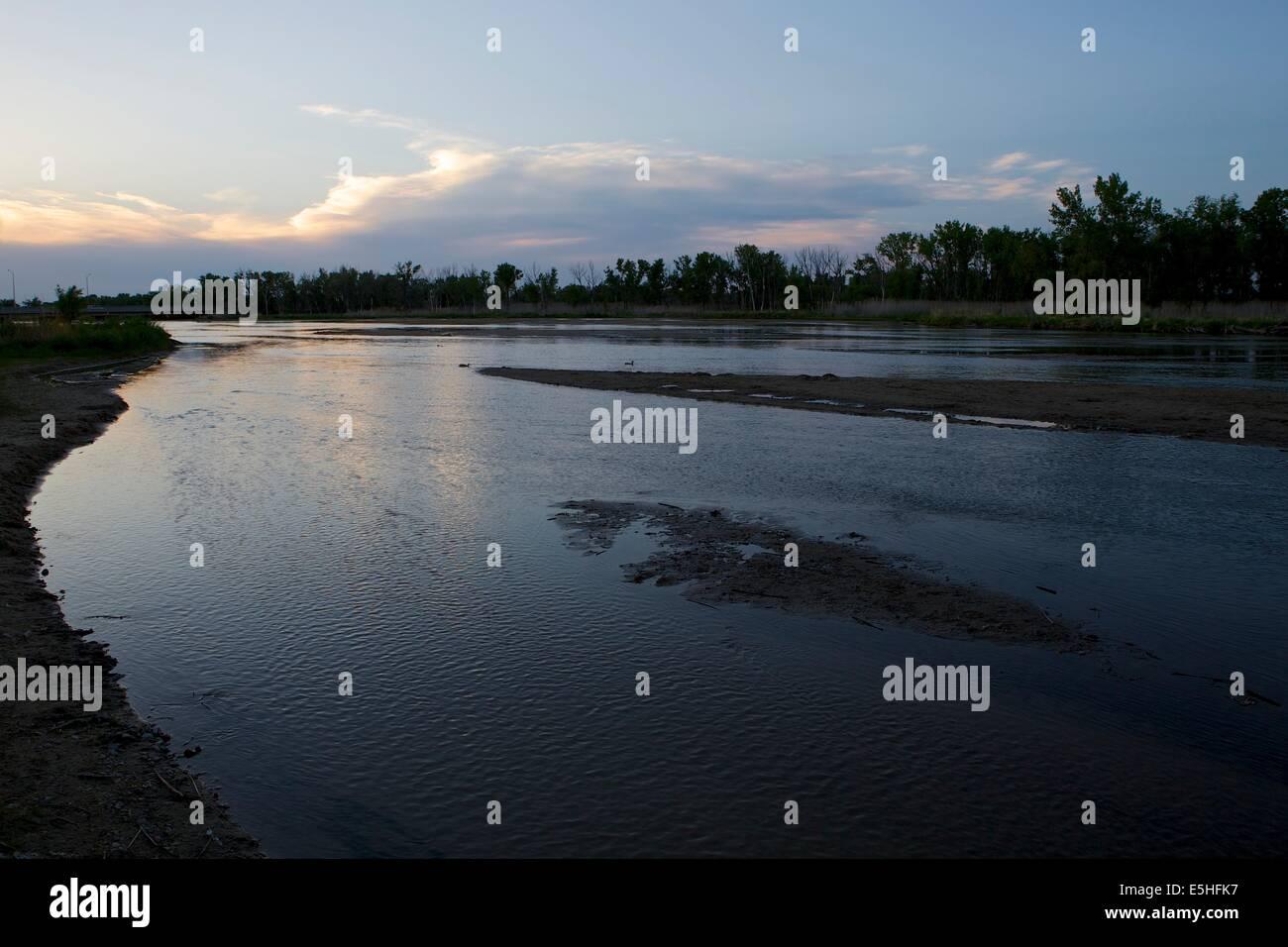 Platte River at sunset in North Platte, Nebraska Stock Photo