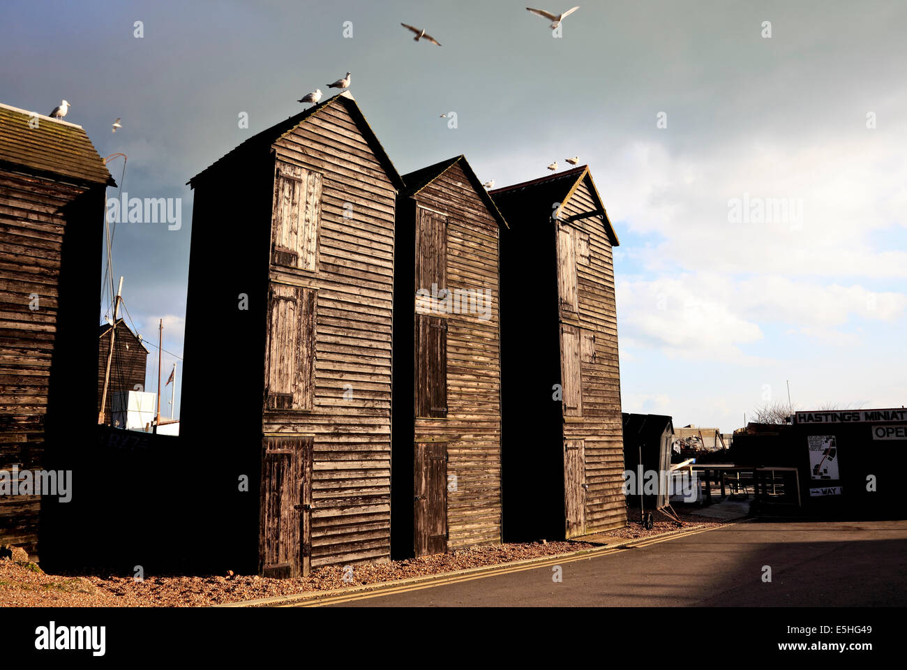 9522. Net drying sheds, Rock a Nore, Hastings, East Sussex - Stock Image