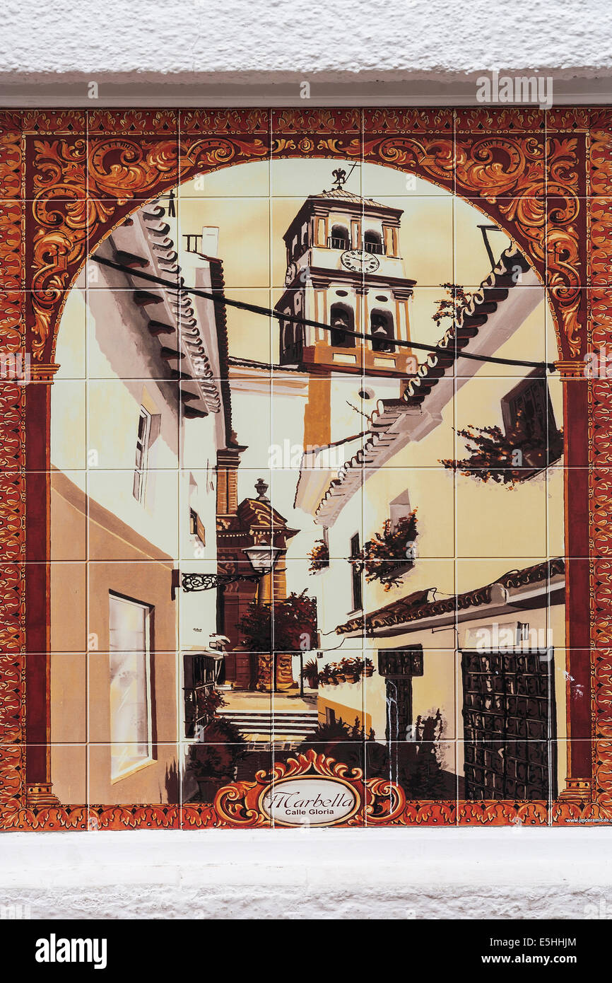 Spain Andalucia, Marbella, Wall tile of old town - Stock Image