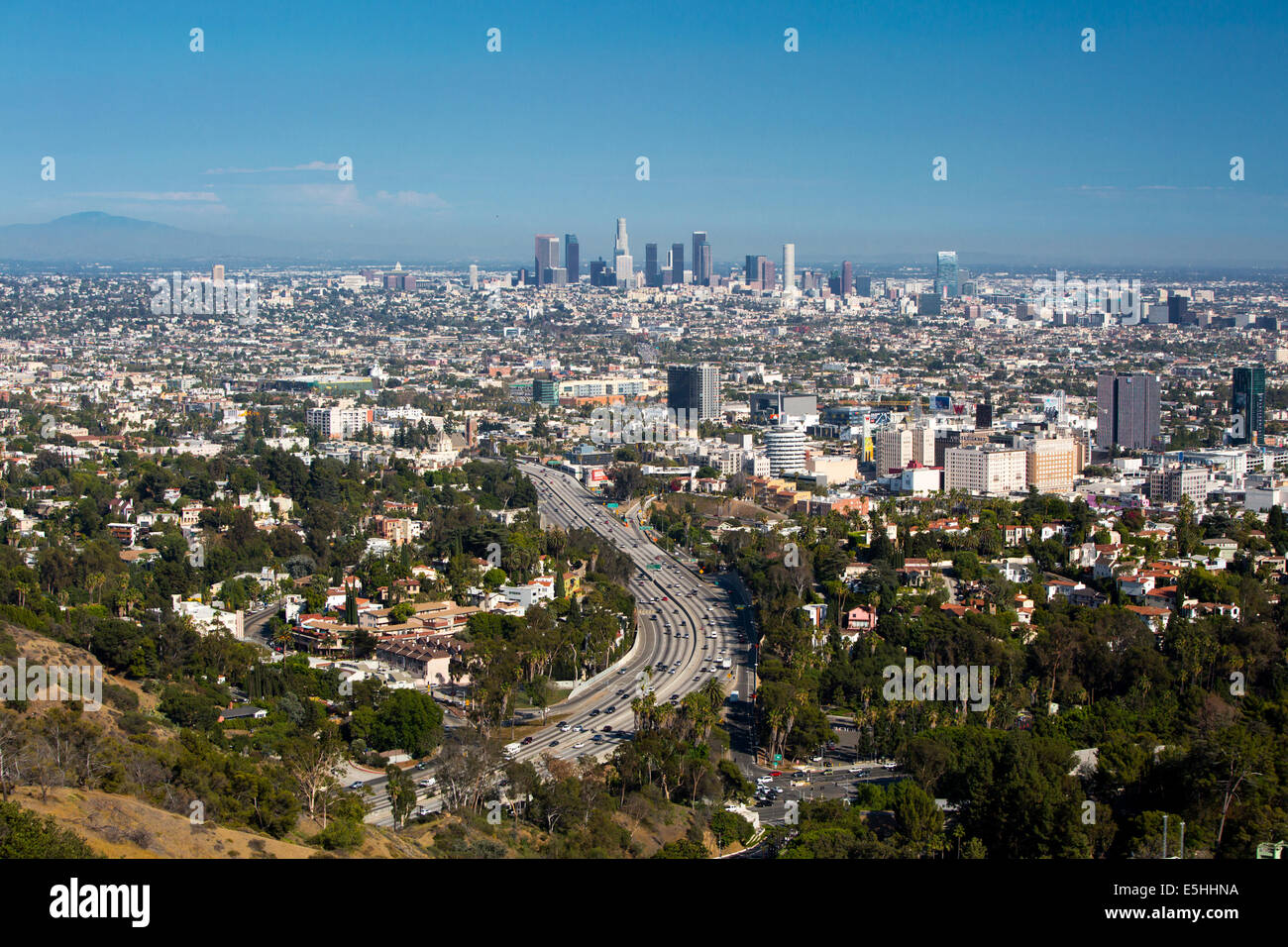 View over LA skyline and the Hollywood Freeway in Los Angeles, California, USA - Stock Image
