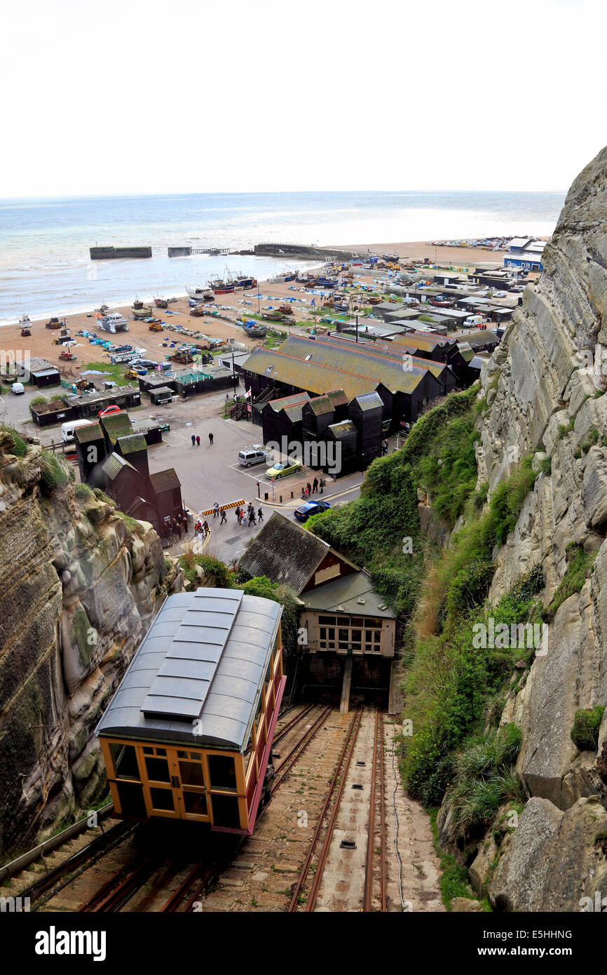 9598. East Cliff Railway, Rock a Nore, Hastings, East Sussex. - Stock Image