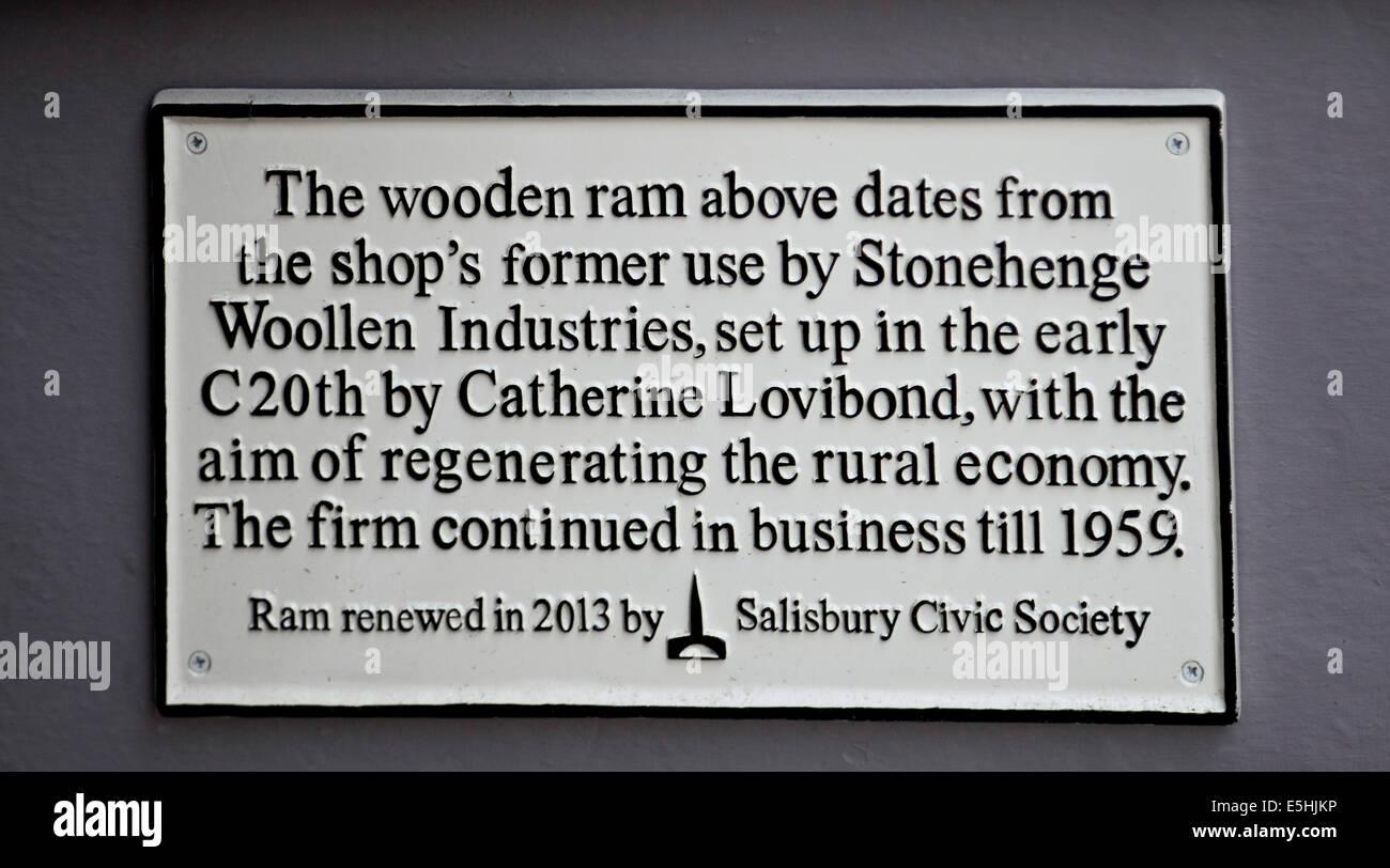 9607. Old Wool Shop sign, Salisbury, Wiltshire - Stock Image