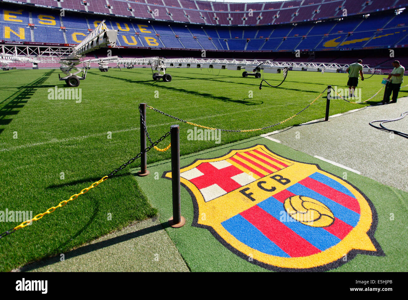 Camp Nou stadium, logo of FC Barcelona, ​​Barcelona, Catalonia, Spain - Stock Image