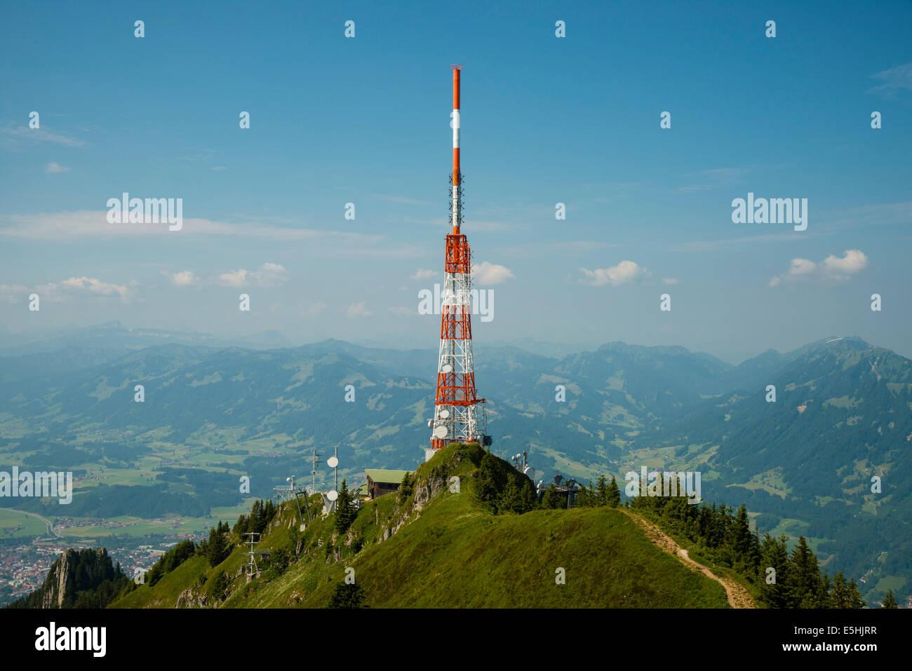 Transmission tower of the Bayerischer Rundfunk or Bavarian Broadcasting, Grünten, 1738m, Iller, Allgäu Alps Stock Photo