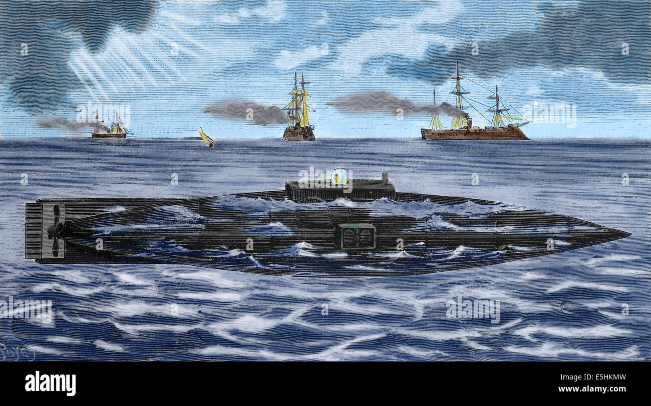 Submarine. Engraving. Later colouration. - Stock Image