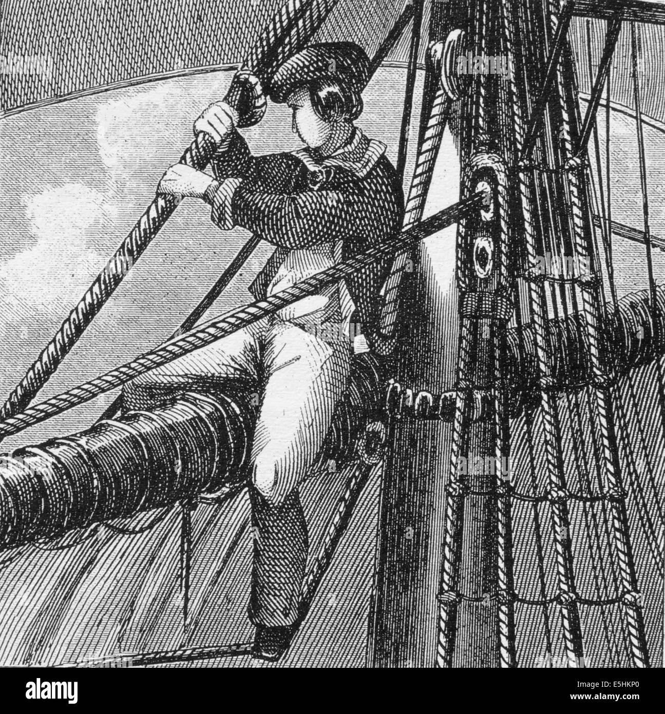 Look-out from the topsail yard. 19th century. Engraving. - Stock Image