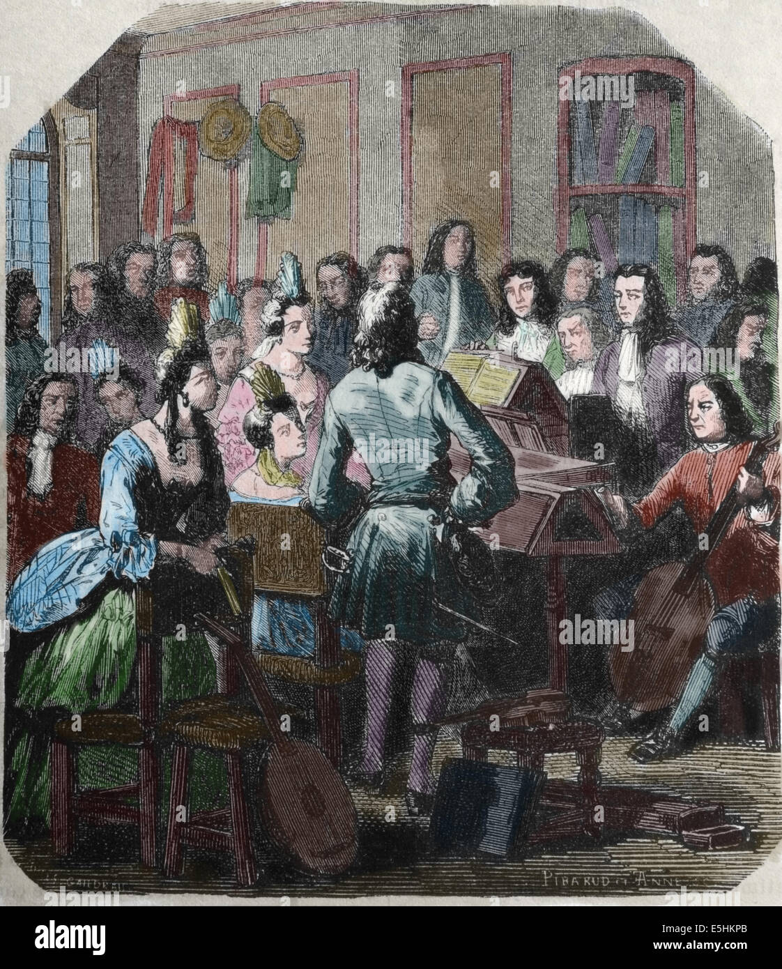 Thomas Briton (1657 1714) English charcoal merchant and concert promoter. engraving by Ribaraud. ,1879. Later colouration. Stock Photo