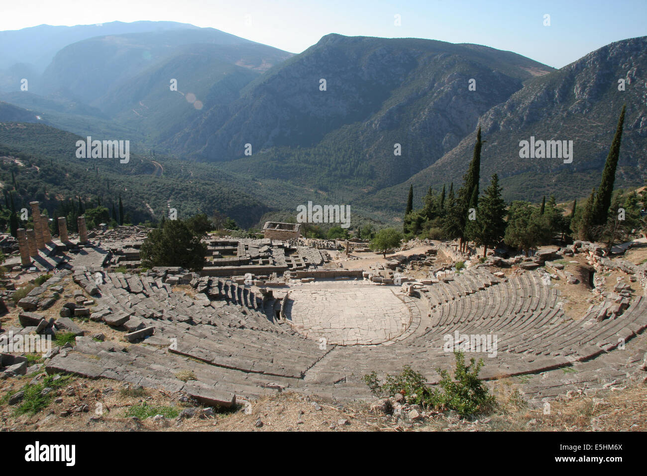 Greece. City of Delphi. 8th century BC-2nd century AD. View over the Theatre. Stock Photo