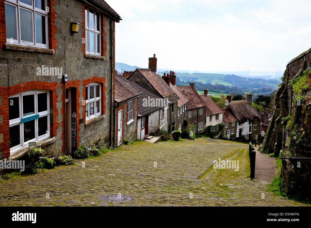 9645. Gold Hill, Shaftsbury, Dorset - Stock Image
