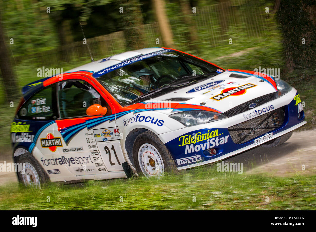 2001 Ford Focus WRC with driver Steve Rockingham on the rally stage ...