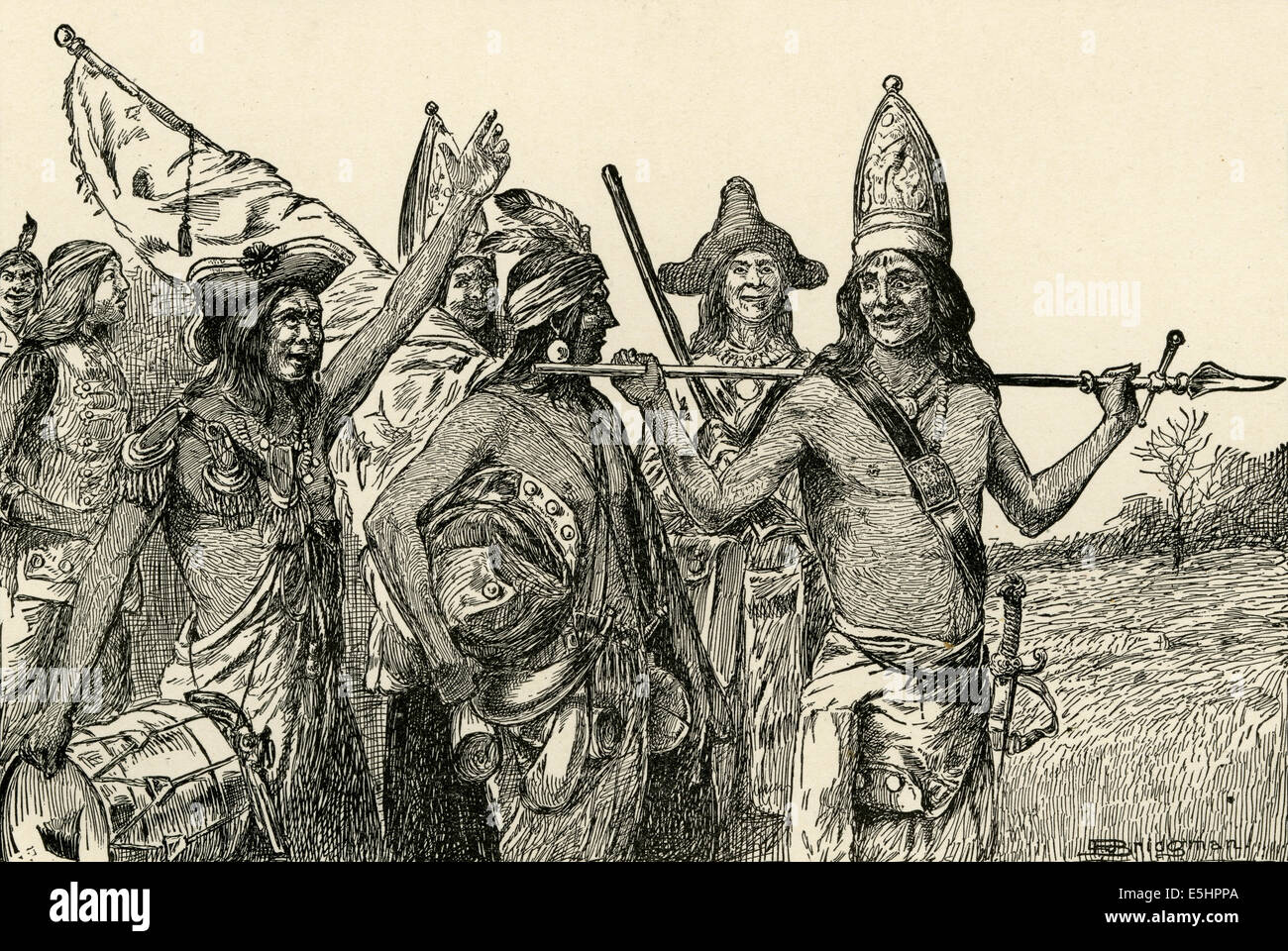 Antique 1895 engraving, 'The Indian Allies of the French Returning Home after Braddock's Defeat, Dressed - Stock Image