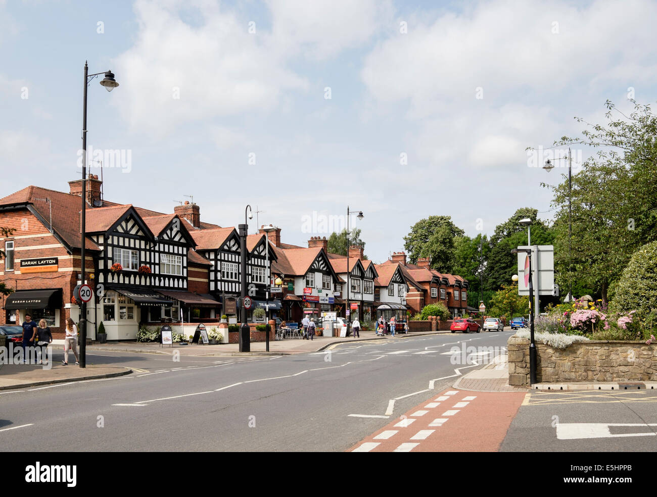 Street scene with small  shops in centre of Ribble Valley village. King Street, Whalley, Lancashire, England, UK, - Stock Image