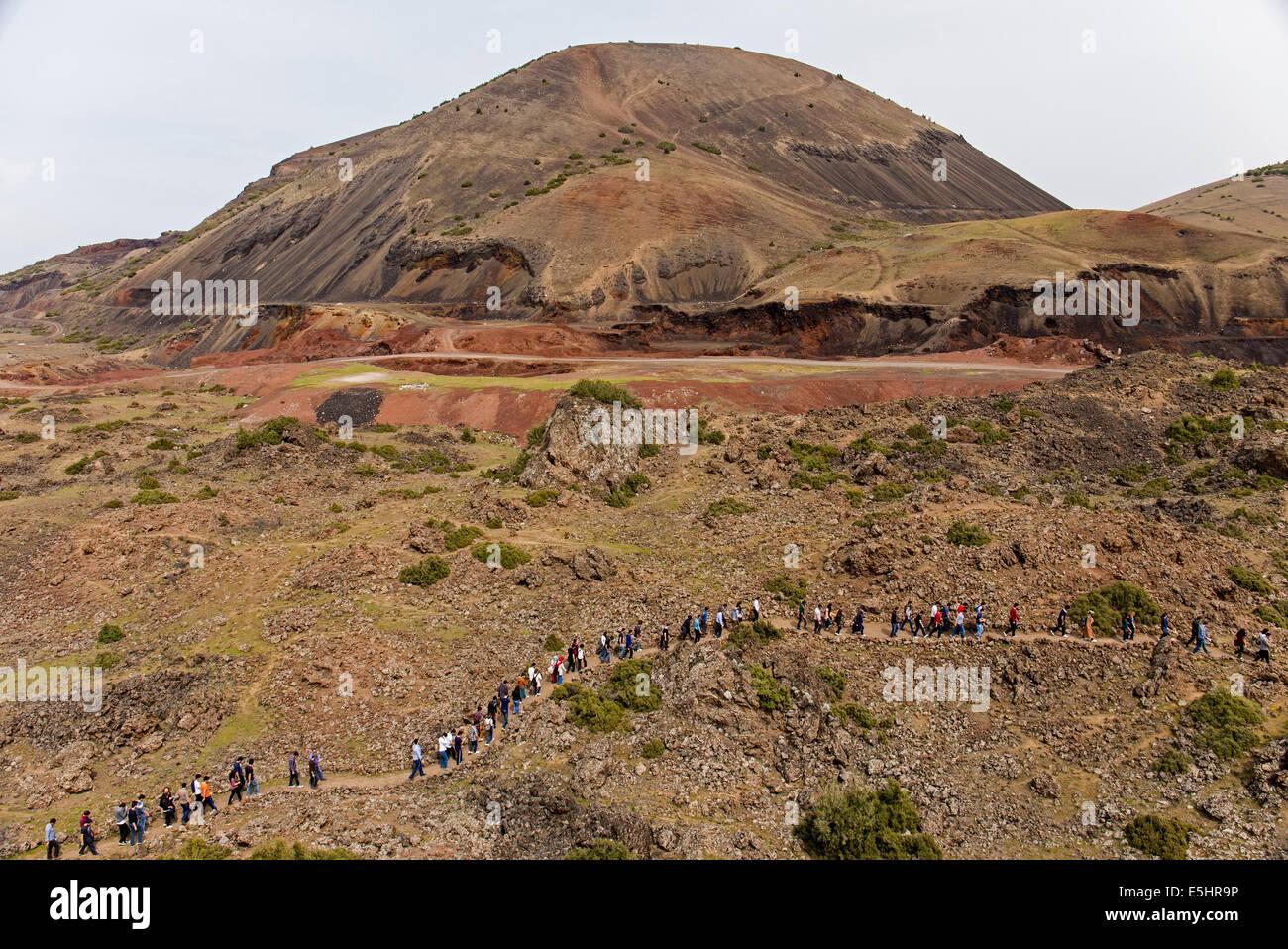 Kula Volcanic Cones and visitor in Kula Geologic Park Manisa Turkey - Stock Image