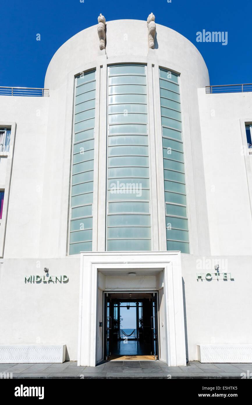 Entrance to the Art Deco Midland Hotel on the promenade in the seaside resort of Morecambe, Lancashire, UK - Stock Image