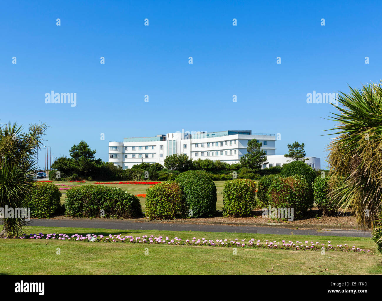 The Art Deco Midland Hotel on the promenade in the seaside resort of Morecambe, Lancashire, UK - Stock Image