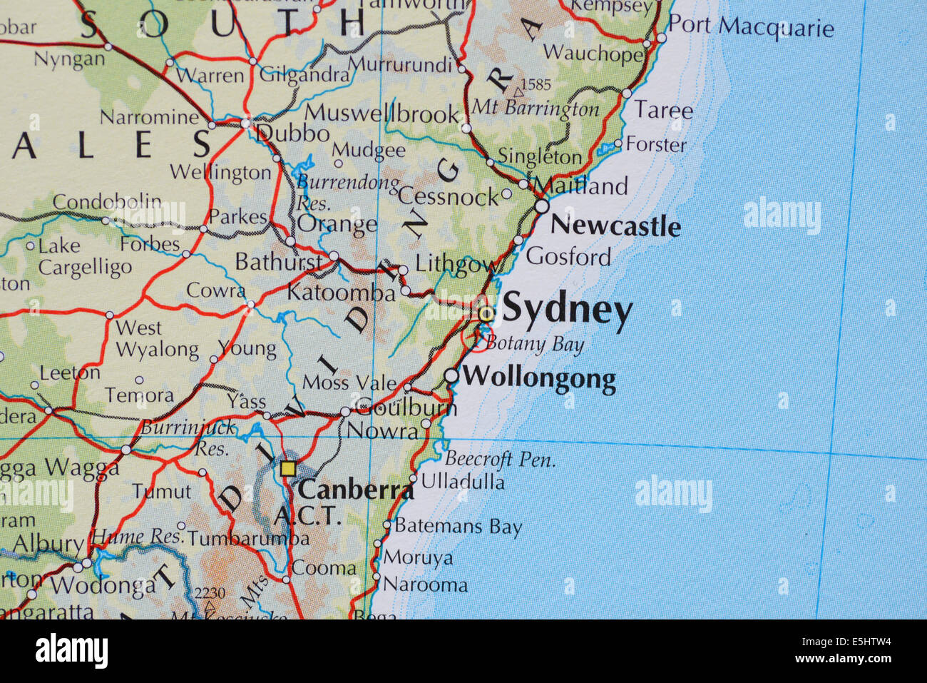 atlas map showing the cities of sydney new south wales australia and the canberra the australian capital