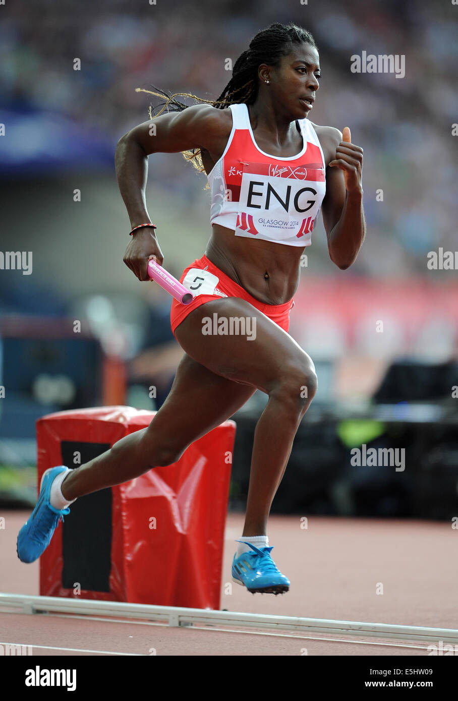CHRISTINE OHURUOGU WOMAN'S 4X400 RELAY HAMPDEN PARK GLASGOW SCOTLAND 01 August 2014 - Stock Image