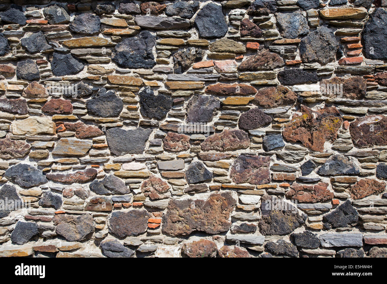 Volcanic stones used on a wall Kula Manisa Turkey - Stock Image