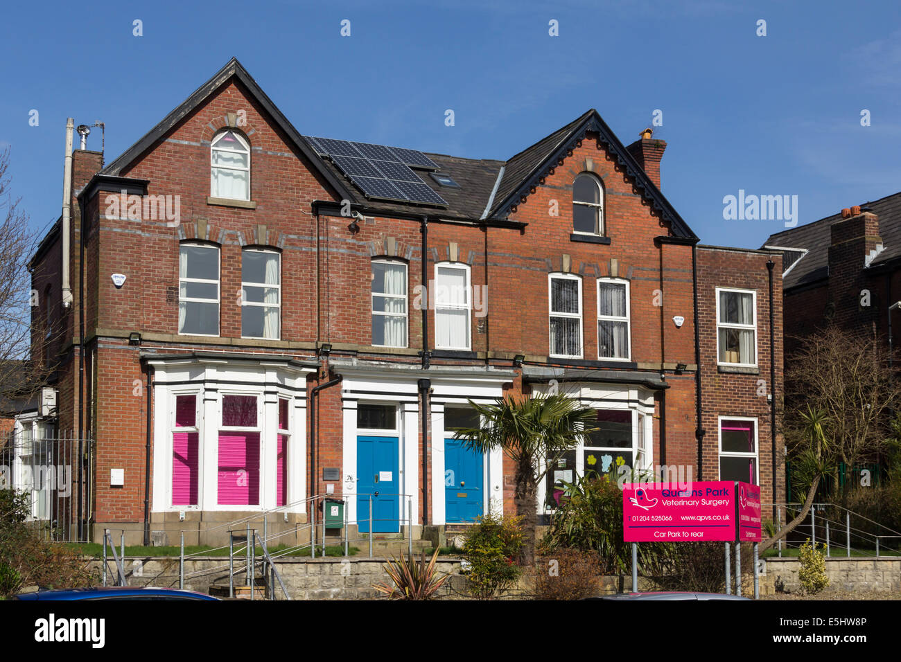The premises of Queens Park Veterinary Surgery on Chorley New Road, Bolton, formerly a large Victorian semi-detached - Stock Image