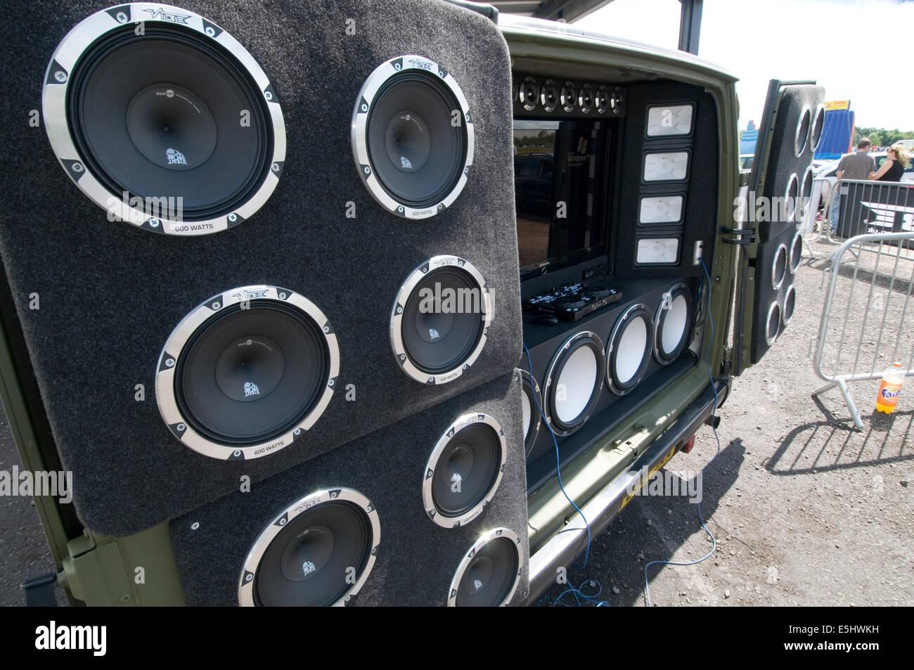 loud car stereo speakers ICE in car entertainment music air pressure woofer woofers tweeter tweeters banging music - Stock Image