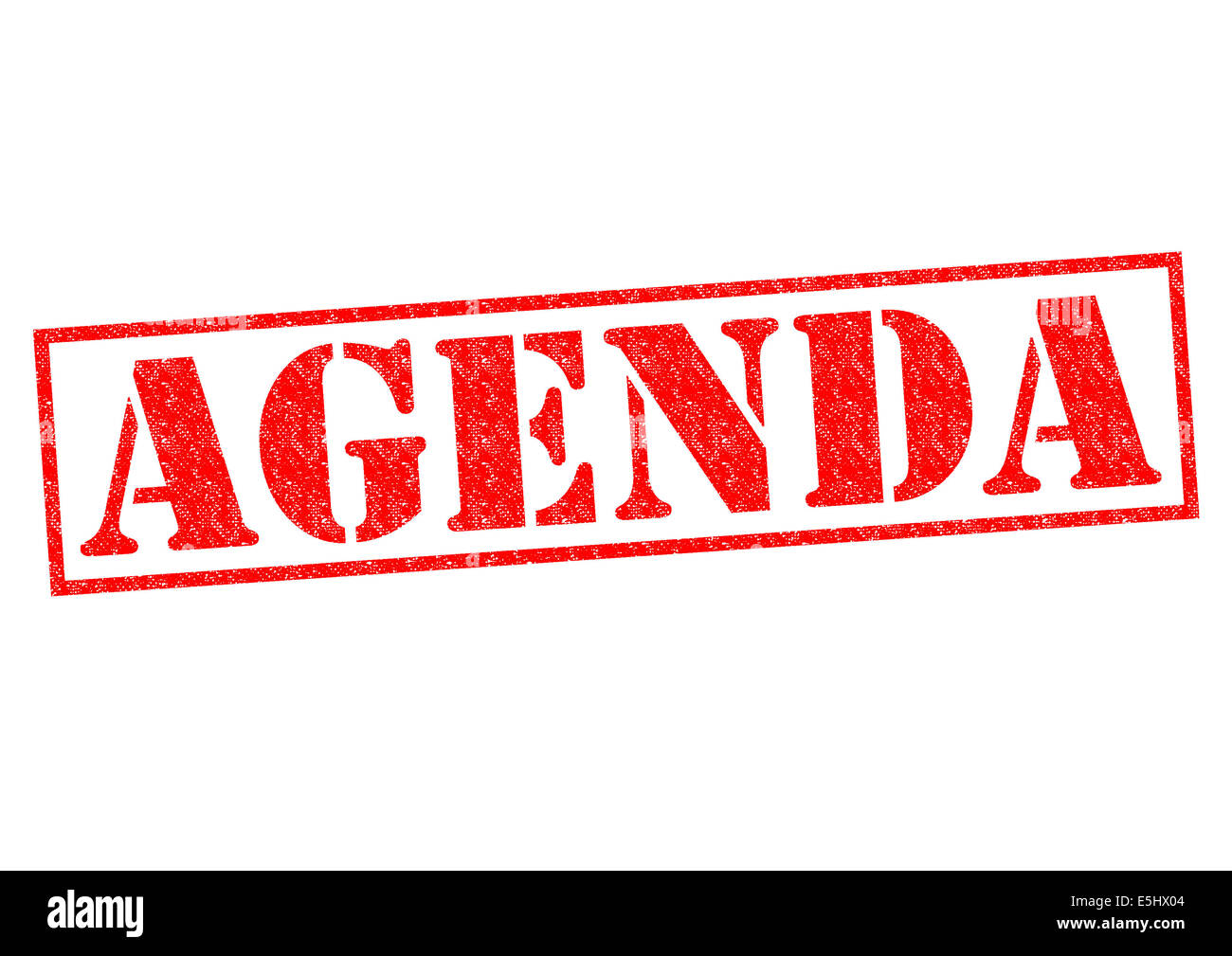 AGENDA red Rubber Stamp over a white background. - Stock Image