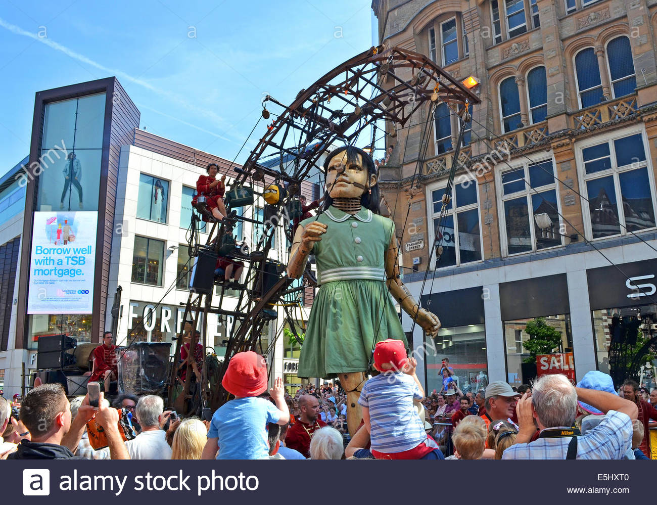 The ' Little Girl ' one of the 'Royal de Luxe ' giants in Liverpool, UK as part of the world war - Stock Image
