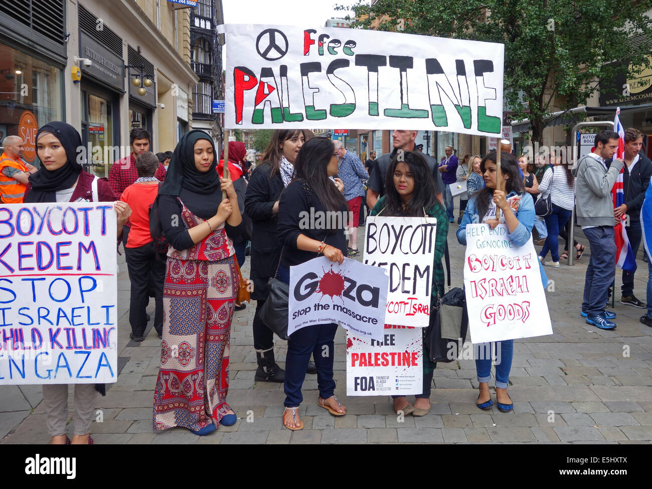 Supporters of Palestine protesting against Israel, in the British city of Manchester, England, UK - Stock Image