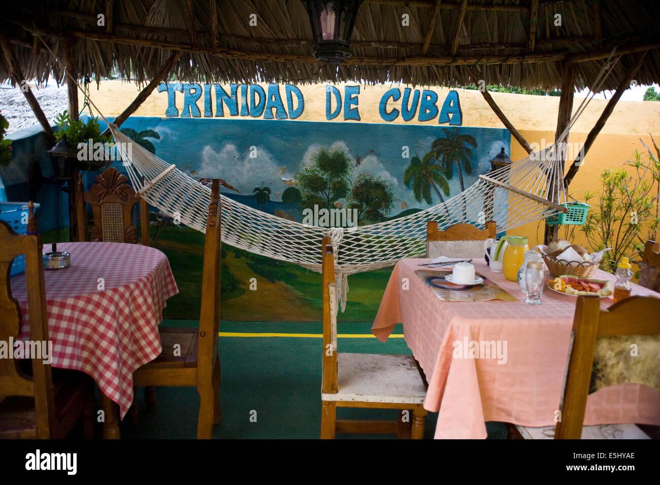 Breakfast setting at a Casa Particular (Bed & Breakfast) in Trinidad, Cuba - Stock Image