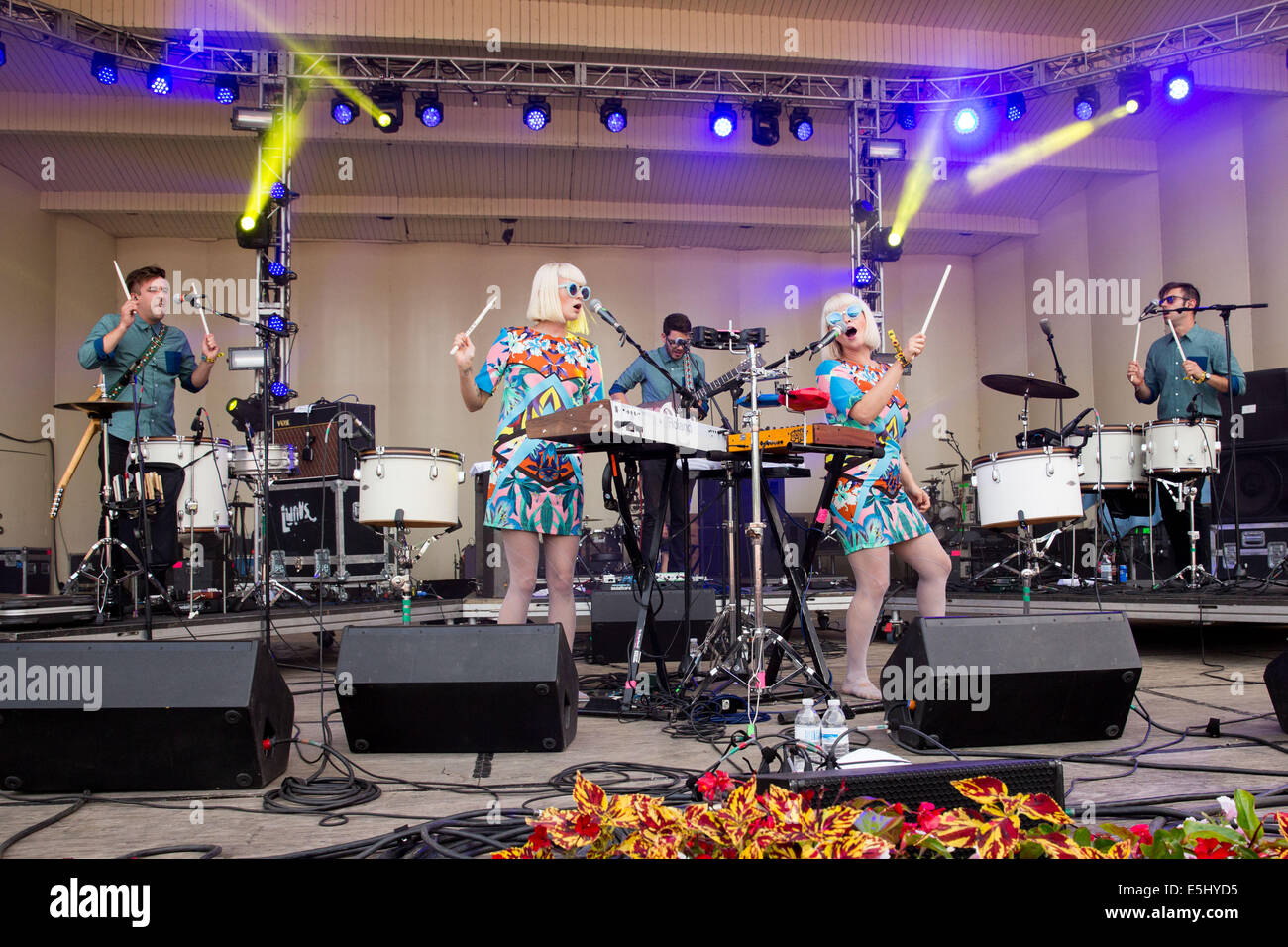 Jan. 5, 2012 - Chicago, Illinois, U.S - Lucius perform live at the 2014 Lollapalooza Music Festival in Chicago, - Stock Image