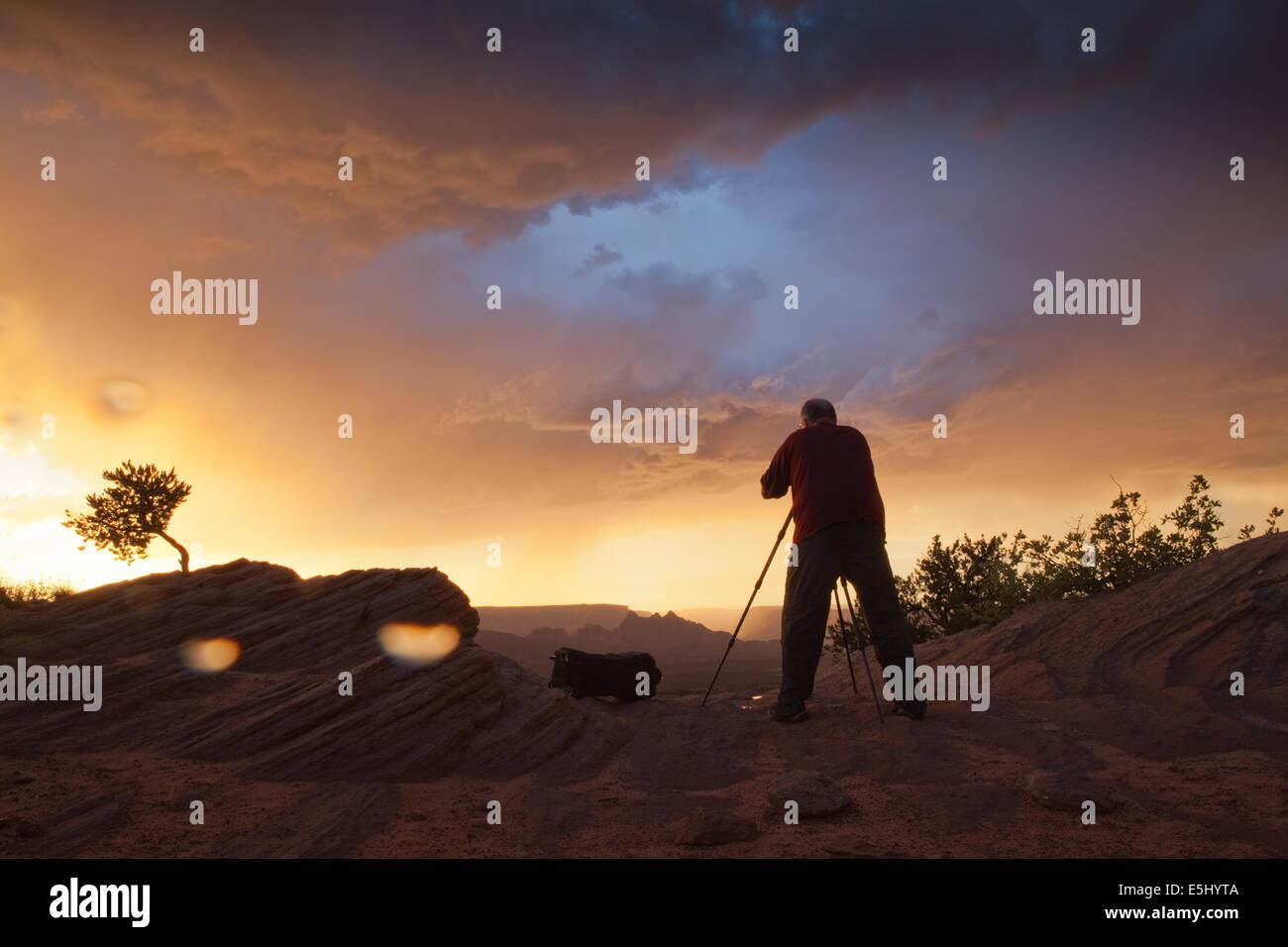 Photography in an Arizonan Rainstorm - Stock Image