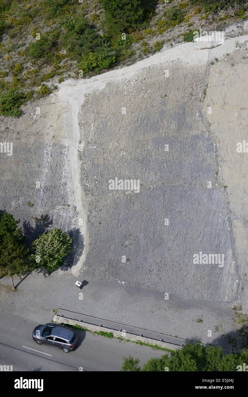 350 m2 SLAB OF AMMONITES (aerial view). Dalle aux ammonites, Digne-les-Bains, Alpes-de-Haute-Provence, France. - Stock Image