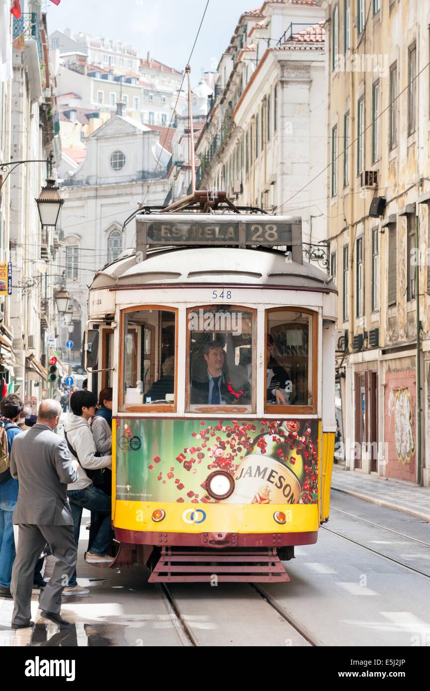 Number 28 tram in Baixa, Lisbon, Portugal - Stock Image