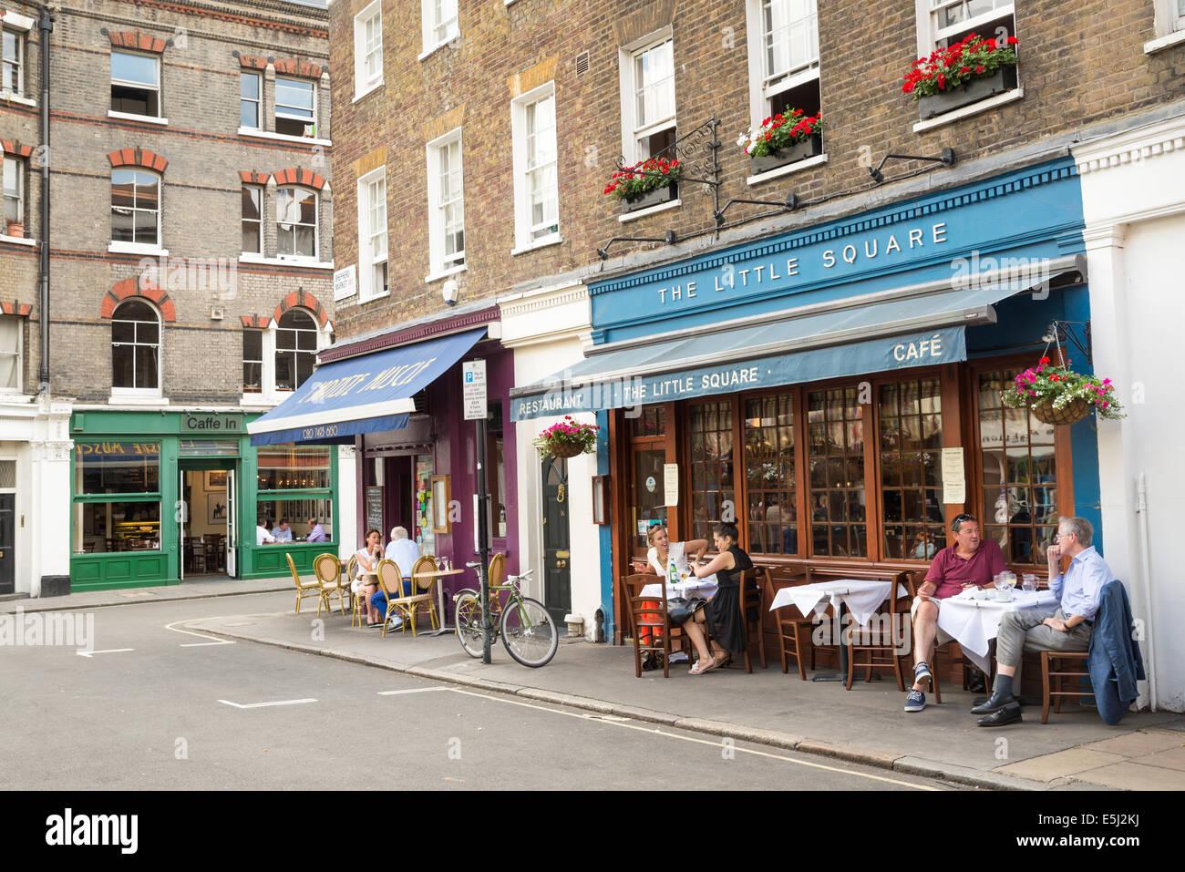 Small restaurants in Shepherd Market, Mayfair, London, England, UK - Stock Image