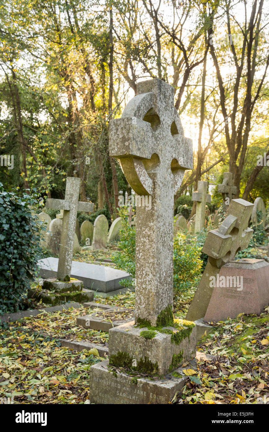 Old tombstones in Highgate Cemetery, London, England, UK - Stock Image