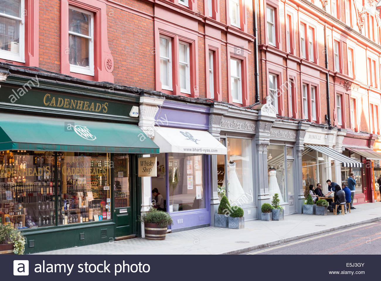Small shops and boutiques in Chiltern Street, Marylebone, London, England, UK - Stock Image