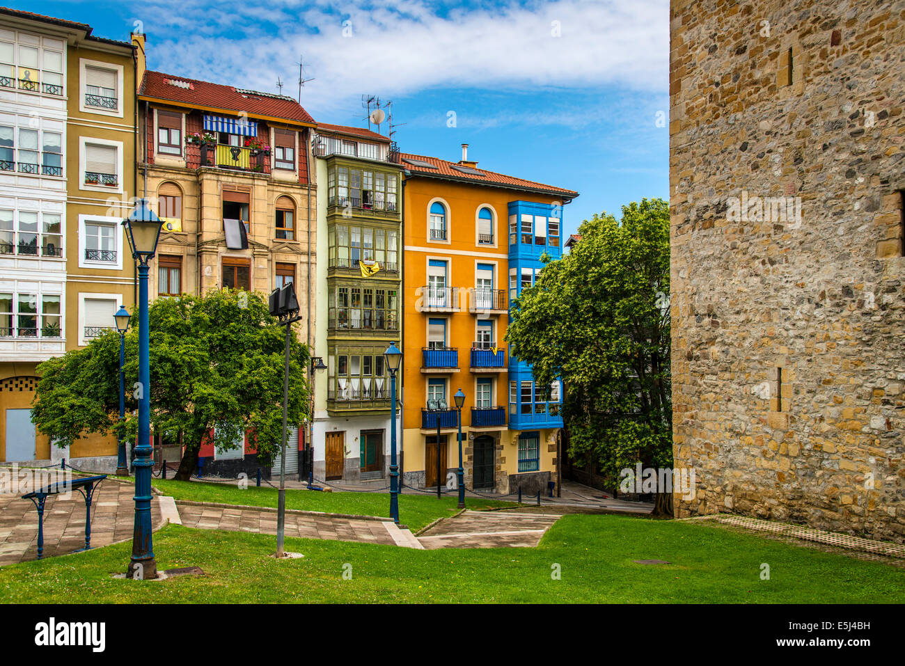 Colorful houses in the town of Portugalete, Biscay, Basque Country, Spain - Stock Image