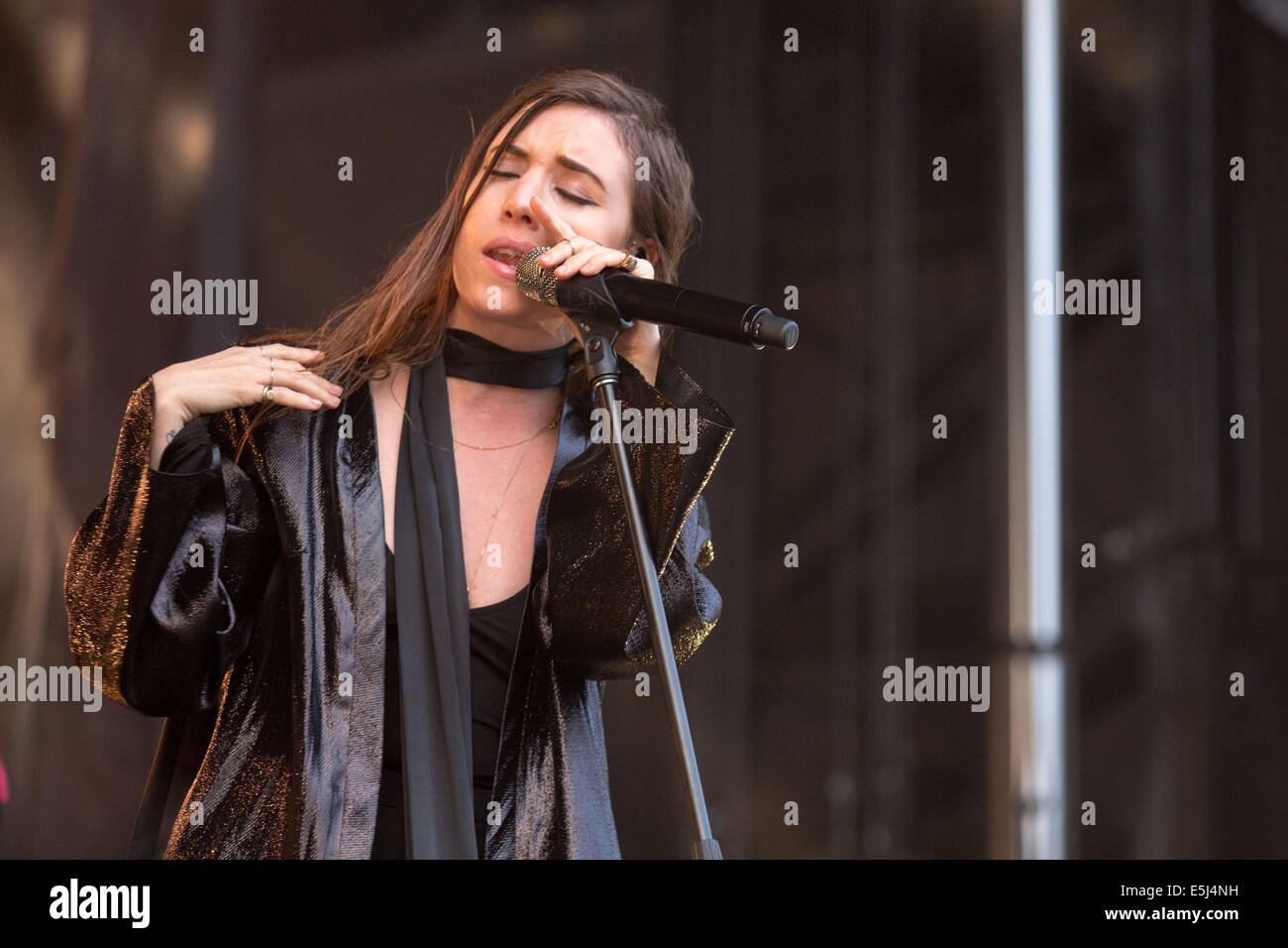 Chicago, Illinois, USA. 5th Jan, 2012. Vocalist LYKKE LI performs live at the 2014 Lollapalooza Music Festival in - Stock Image
