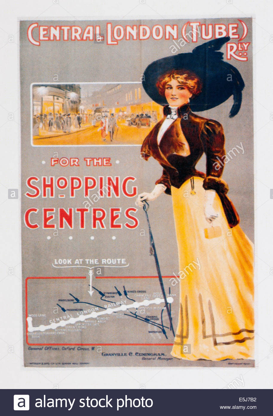 Vintage travel poster advertising Central London Tube Railway. Editorial Only - Stock Image