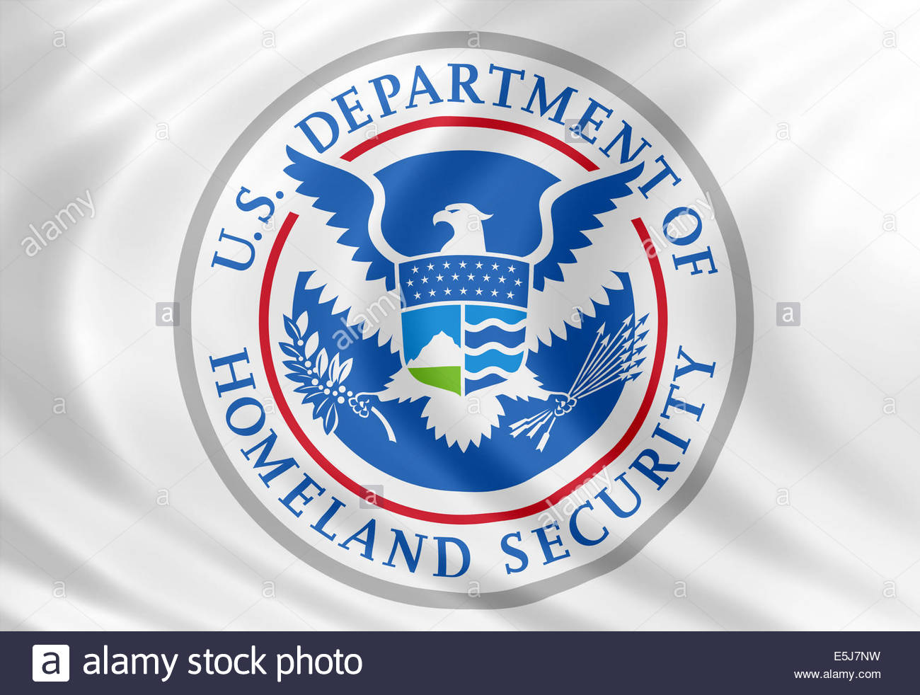 United States Department of Homeland Security logo icon with flag of silk - Stock Image