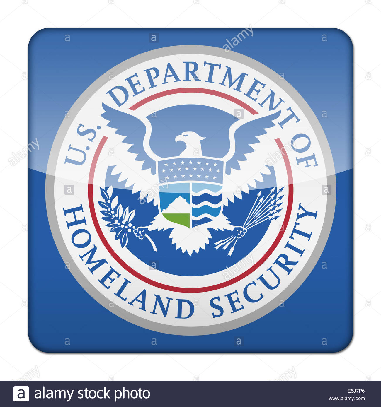 United States Department of Homeland Security logo icon isolated app button Stock Photo