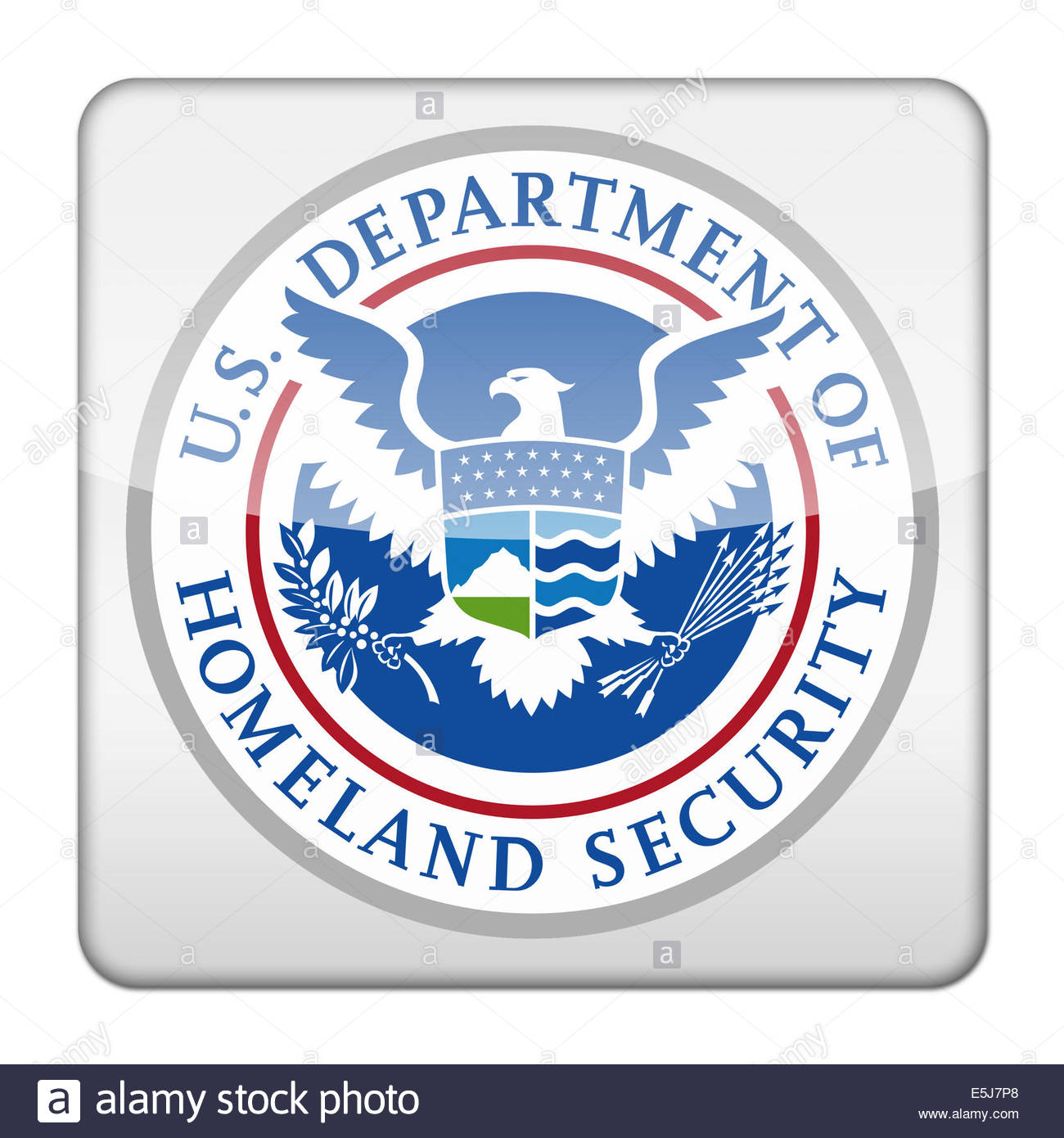 United States Department of Homeland Security logo icon isolated app button - Stock Image