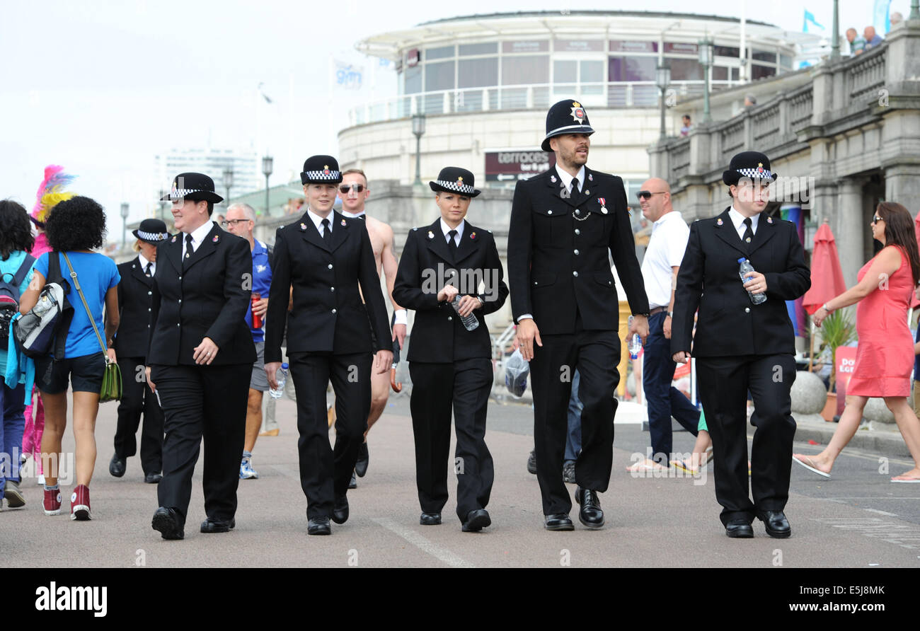 Brighton, Sussex, UK. 2nd Aug, 2014. Members of the police force take part in the annual Brighton Pride Parade starting - Stock Image