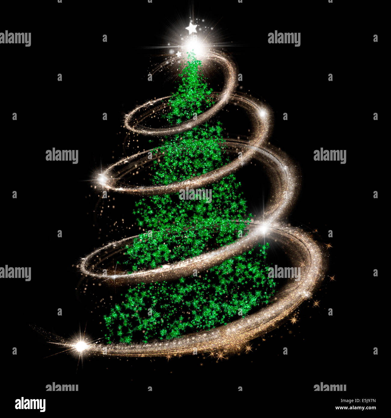 Elegant Christmas tree in green, silver and gold over black Stock ...