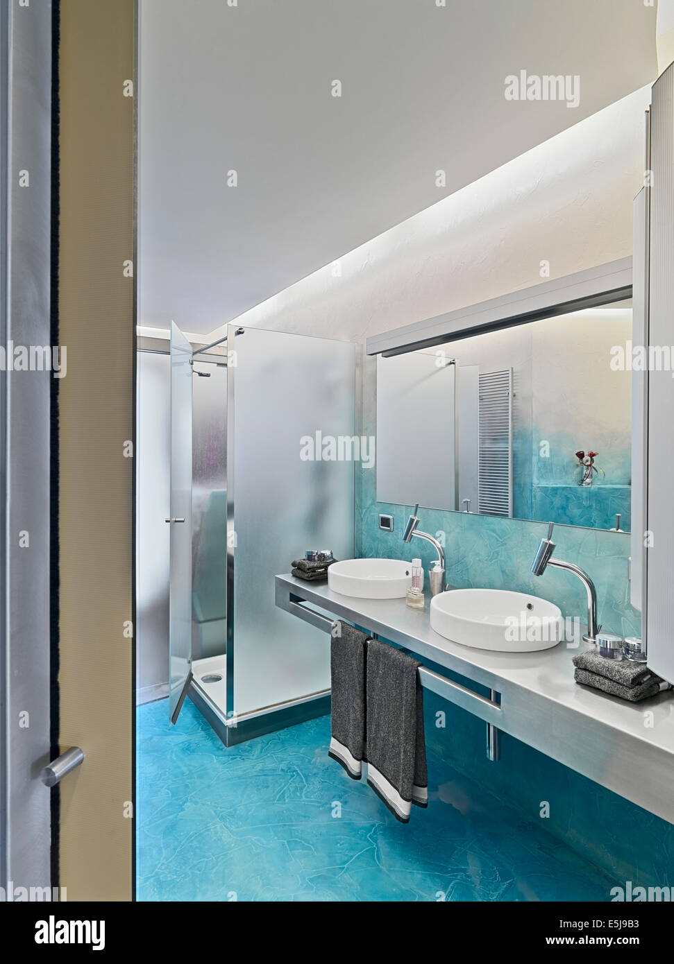 Interior View Of A Modern Bathroom With Closeup On The Washbasin