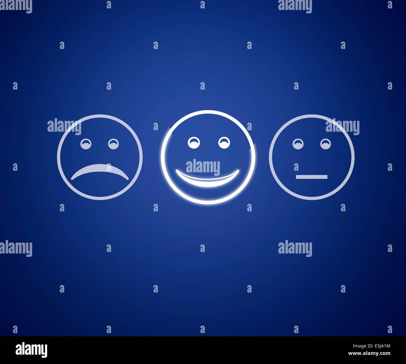 Emoticons screen customer service evaluation form. - Stock Image
